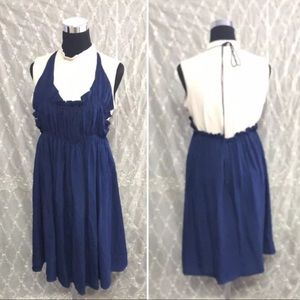 DOO RI Navy Blue 100% Silk Halter Dress S, fits OS